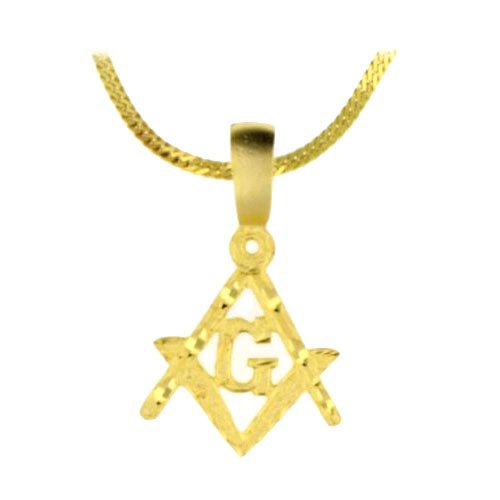 "Masonic Square and Compasses. Cut .18k Yellow Gold Plated Charm 24"" Steel Necklace Herringbone"