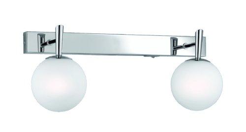 Trio-Leuchten 8801221-06 Halogen-Balken 2x40W G9mit Schalter chrom Glas opal weiß