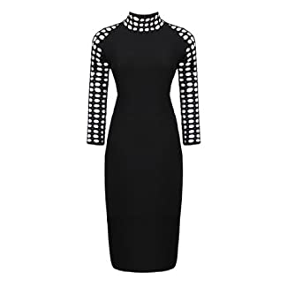Women's Sexy Hollow Out Neck 3/4 Sleeve Pencil Party Dress Slim Fit