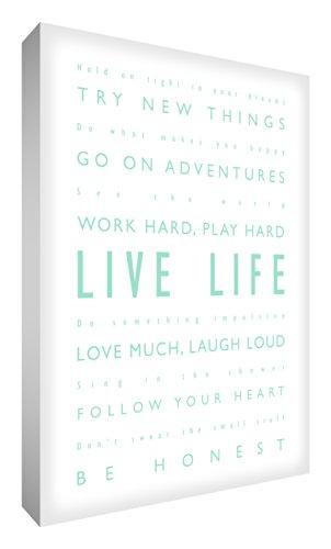 "Feel Good Art, Stampa su tela, scritta in calligrafie diverse, motivo: scritta in inglese ""Live life / Vivi la vita"", 30,5 x 40,6 cm, Verde (Mintgrün)"