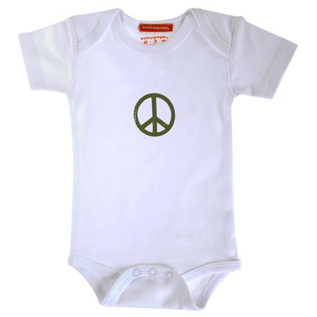 Peace Sign Onesie (White), Available in Various Sizes - Buy Peace Sign Onesie (White), Available in Various Sizes - Purchase Peace Sign Onesie (White), Available in Various Sizes (babygags, babygags Apparel, babygags Toddler Boys Apparel, Apparel, Departments, Kids & Baby, Infants & Toddlers, Boys, Shirts & Body Suits, Body Suits)
