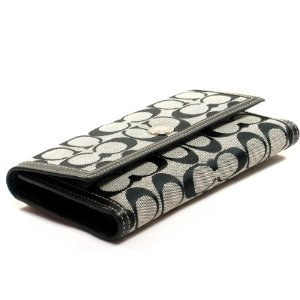 Coach Hamptons Signature Checkbook Wallet Black