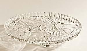 Plat à gâteau/plateau sur 3 pieds - cristal - 25,5 cm