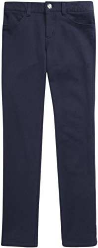 French Toast School Uniform Girls Rhinestone Button Jegging Pants, Navy, 18