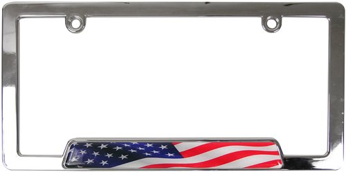 Custom Accessories 92830 Chrome USA Flag License Plate Frame