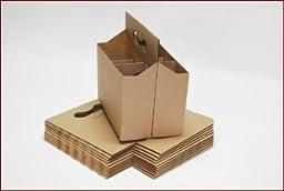 Six Pack Bottle Kraft / Natural Cardboard Carrier Boxes for 12oz Beer or Soda Bottles (Pack of 24)