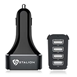 Car Charger: Stalion 4 USB Port Electric [24 Month Warranty] Universal Car Accessories for Apple iPhone 4 4s 5 5s 5c 6 6s 6 plus 6s plus, Samsung Galaxy Note 3 4 5 Samsung Galaxy S3 S4 S5 S6 Edge+, Apple iPad 2 3 4 5 6 Air