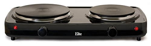 Elite Cuisine EDB-302BF Maxi-Matic Electric Double Buffet Burner with Dual Temperature Control, Black (Aroma Dual Burner Hot Plate compare prices)