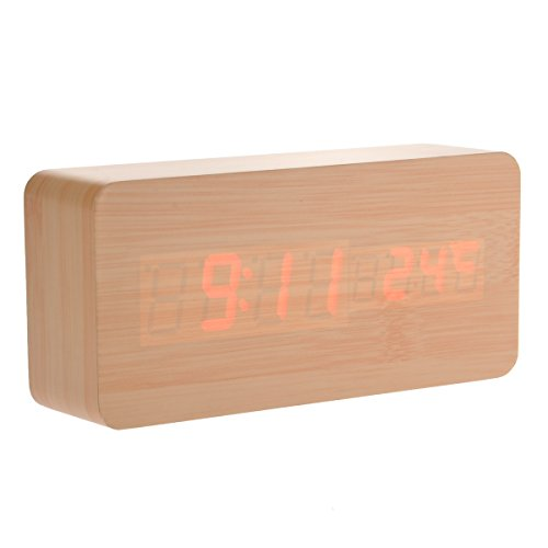 Tinksky 013-11 Usb Aaa Powered Rectangle Shaped Voice Control Red Light Digital Led Wooden Desk Alarm Clock With Date Temperature (Burlywood)