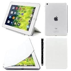 Elite Ultra Thin Smart Flip Foldable Flip Case cover for Apple iPad Mini 1 & 2 Retina Tablet with stylus (Sleep/wakeup) (White)