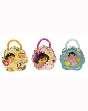 The Tin Box Company Dora the Explorer Flower Shape Carry-All with Beaded Handle