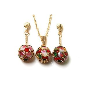 9ct Gold Oriental Red Enamel Ball Pendant and Earring set.