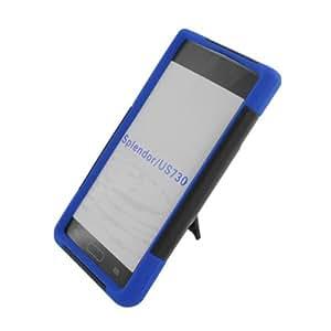 Aimo LGUS730PCMSK002S Durable Rugged Hybrid Case for LG Splendor/Venice S730 - 1 Pack - Retail Packaging - Black/Blue
