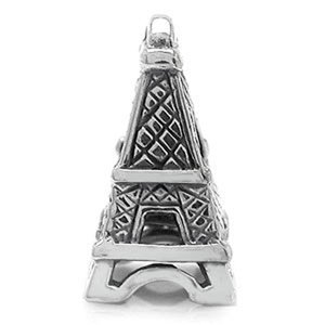 EIFFEL TOWER Travel Vacations Solid Sterling Silver Fits European Charm Bead Bracelets