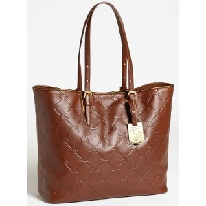 Longchamp Lm Cuir Large Tote Cognac Brown Bag Leather Handbag Purse Logo Only 1 NEW
