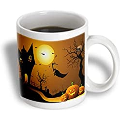 3dRose Halloween House with Pumpkins Skulls and Bats and The Grim Reaper Ceramic Mug, 11-Ounce