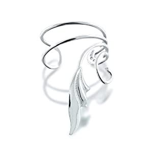 Bling Jewelry 925 Sterling Silver Stylized Leaf Vines Ear Cuff Right Ear