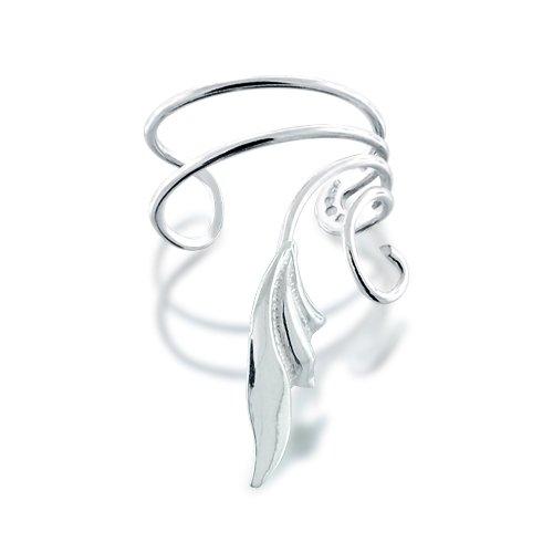 Bling Jewelry 925 Sterling Silver Stylized Leaf Vines Ear Cuff Right Ear