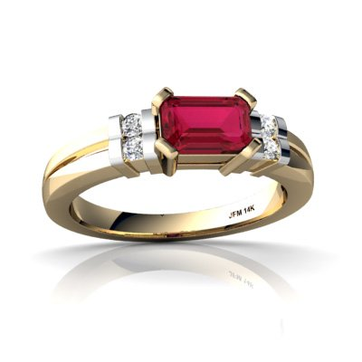 14Kt Yellow Gold Lab Ruby And Diamond Emerald_Cut Art Deco Ring - Size 7