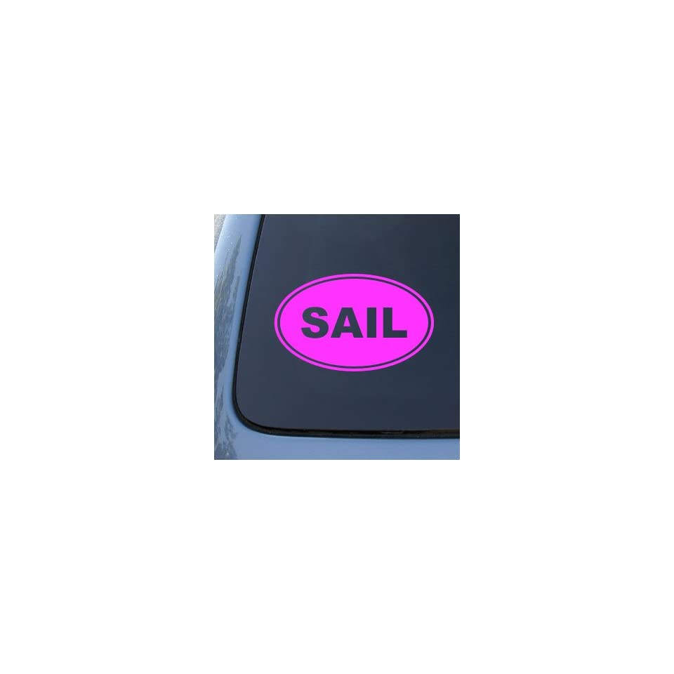 SAIL EURO OVAL   Sailing Boat   Vinyl Car Decal Sticker #1739  Vinyl Color Pink
