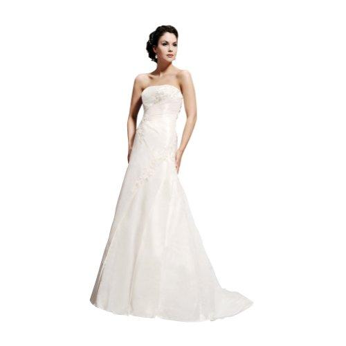 GEORGE BRIDE A-Line Strapless Sweep/ Brush Train Taffeta Wedding Dress Size 16 Ivory