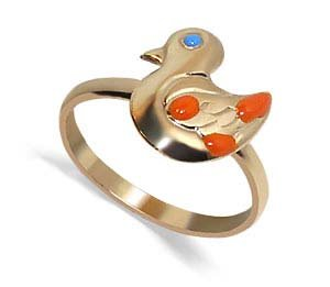 10 KT Yellow Gold Baby Band Duck 10K Child Ring