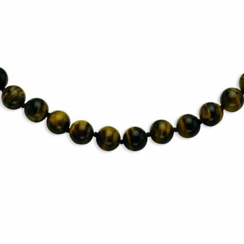 PriceRock 10-10.5mm Smooth Beaded Tiger Eye Necklace