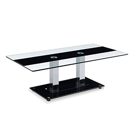 Global Furniture Clear/Black Stripe Occasional Coffee Table with Silver Legs