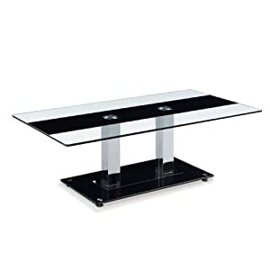 Global Furniture USA T2108 Clear/Black Stripe Occasional Coffee Table with Silver Legs