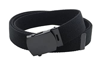 "Canvas Web Belt Military Style with Black Buckle and Tip 56"" Long Many Colors (Black)"