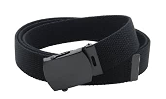 """Canvas Web Belt Military Style with Black Buckle and Tip 56"""" Long Many Colors (Black)"""