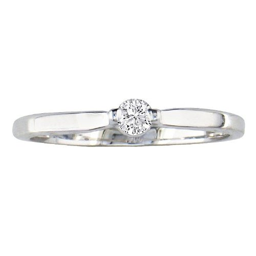 10k White Gold Round Solitaire Diamond Engagement Ring (1/10 ct, J-K ,I2)