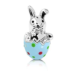 easter charm sterling silver happy bunny bead