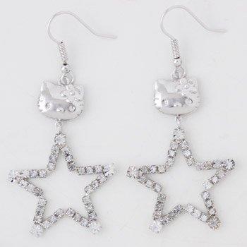 Hello Kitty Crystal Star Earrings