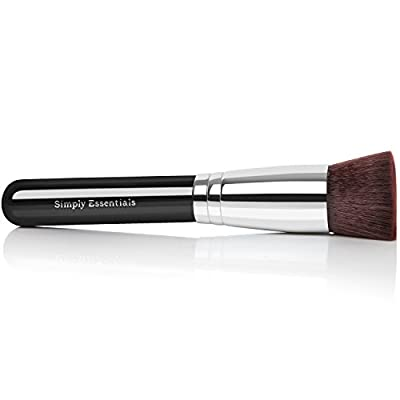 Professional Kabuki Makeup Brush With Big Flat Top for Liquid, Cream Mineral, & Powder Foundation & Face Cosmetics - Best Quality Design - Carrying Case & E-Book Included