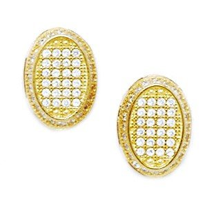 14ct Yellow Gold CZ Large Oval Micropave Earrings - Measures 13x9mm