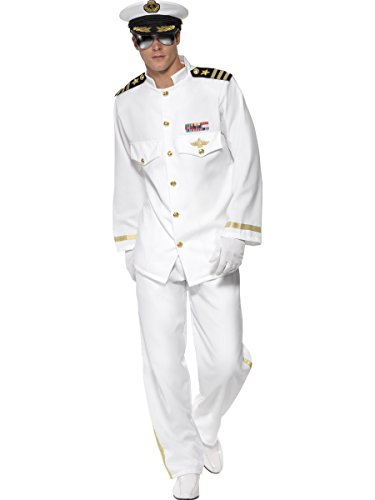 Smiffys Navy Captian Uniform Adult Mens Military Halloween Costume