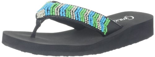 Grazie Women'S Splash Flip Flop,Turquoise,8 B Us back-559131