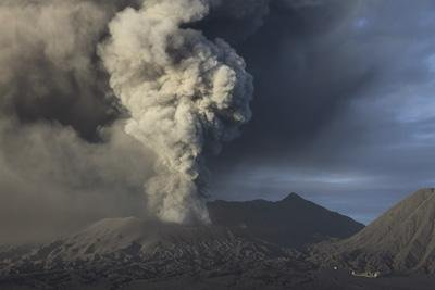 Eruption of Ash Cloud from Mount Bromo Volcano, Tengger Caldera, Java, Indonesia