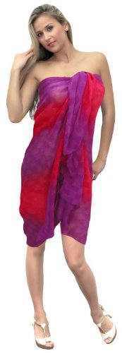 La Leela Pink Purple Woven Pattern Beach Wrap Swim Hawaiian Sarong Cover Up front-869318