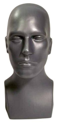"15"" Tall Male Mannequin Head Durable Plastic Grey (50013)"