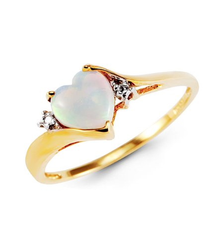10k Yellow Gold Round Diamond Created Opal Heart Ring
