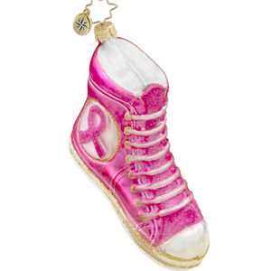Christopher Radko Breast Cancer Fit for Walking Ornament