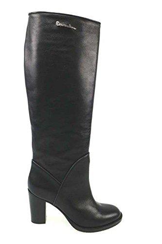 scarpe donna BRACCIALINI 36 stivali nero / grigio pelle AN32-B