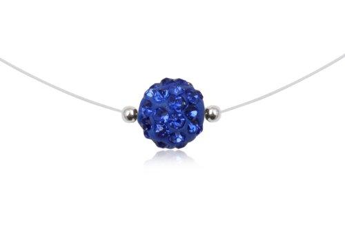 925 Sterling Silver Swarovski Blue Sapphire  Crystal 8mm Bead Nylon Necklace Jewelry