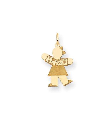 14k Yellow Gold Girls Flower Fancy Dress Charm Pendant