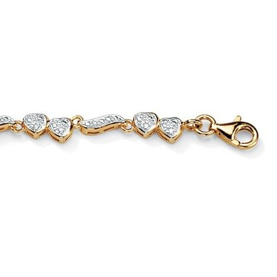 18k Gold/Silver Diamond Heart and Wings Anklet