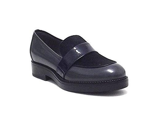 Janet & Janet scarpe donna, 36103, mocassino in pelle e cavallino, colore grigio nero blu