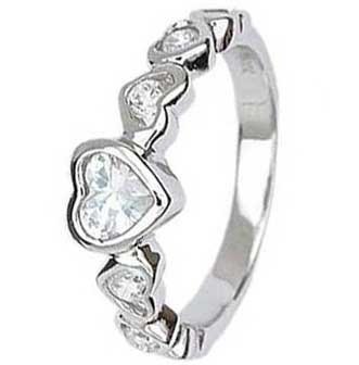 .925 Sterling Silver Eternity Ring With Clear Heart Cubic Zirconias In Bezel Setting