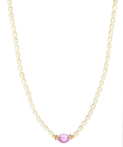 White Rice Pearl Strand with Amethyst Oval Center Necklace, 18